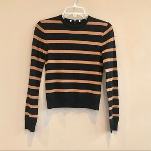 NWOT • Alice + Olivia • Wool Striped Sweater Black